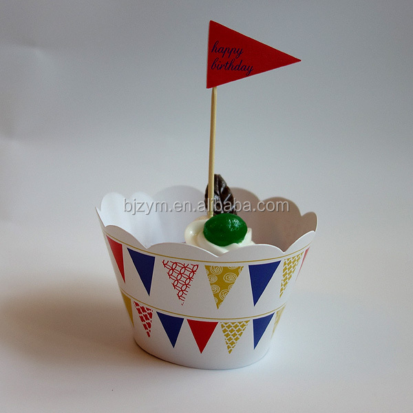 Happy birthday pennant printed cake top Cupcake Wrapper for kid's birthday party favors supply wholesale on alibaba