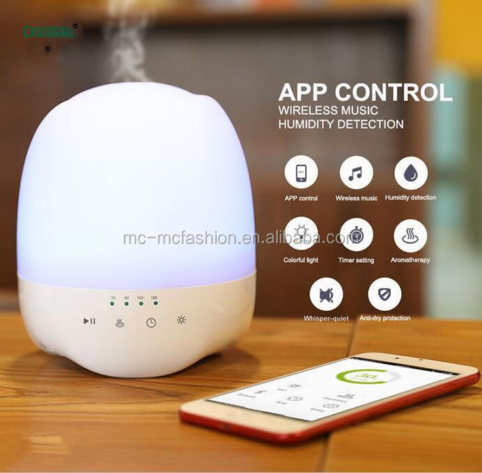 2017 newest humidity detect smart 350ml wireless music app controlled aroma diffuser with bluetooth speaker