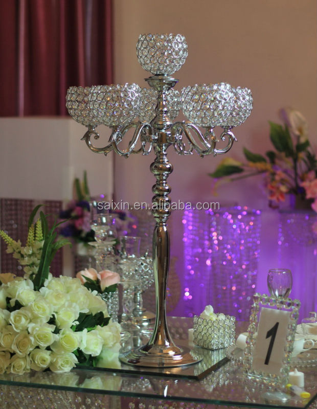 New ! silver metal candelabra with 6 crystal ball for wedding decor