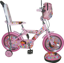 pink cartoon children bike for girls with lovely helmet and bag