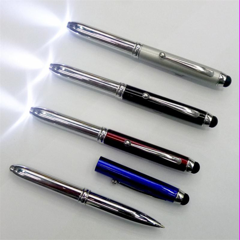 3 in 1 ball pen with led light , promotional touch screen stylus pen