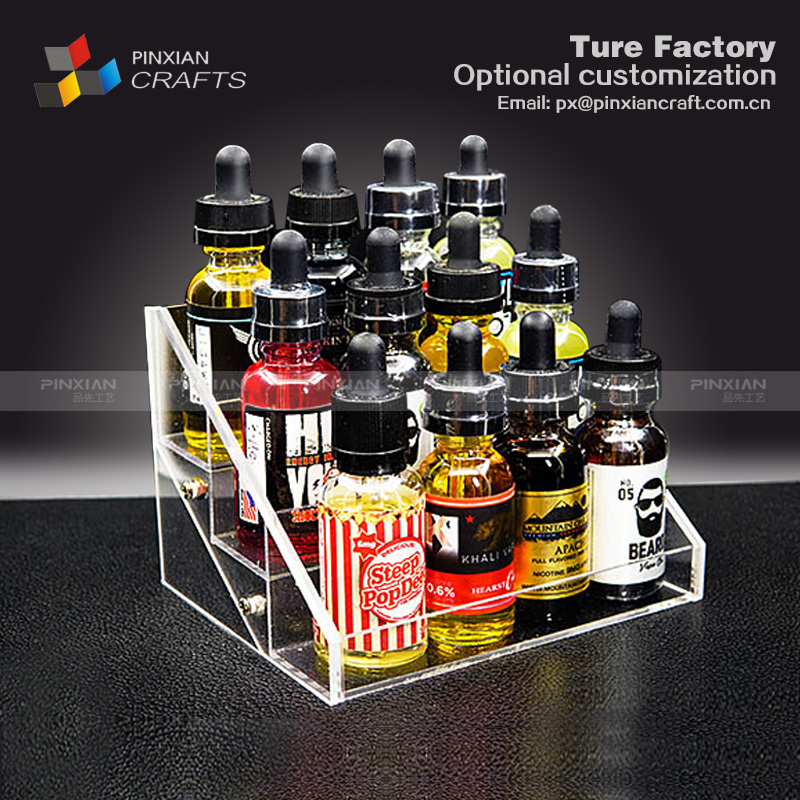 Customized black acrylic e-juice display case e-juice bottles display stand e-liquid juice acrylic display stand