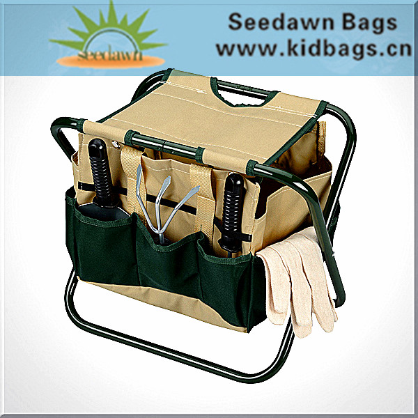 Thick Nylon Handle Carry-on Garden Tool Bag with Chair with Easy Taking Cross Steel Tube Design
