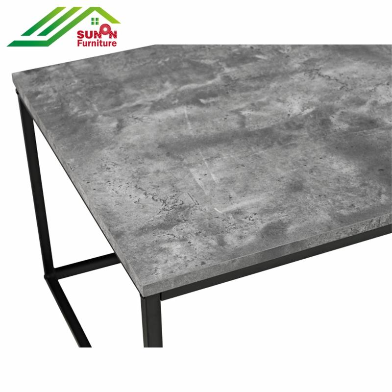 Home made simple design iron metal marble top Italian coffee table