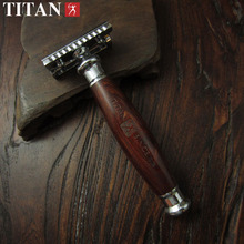 safety razor with mahogany wooden handle ,high quality shaving razor Titan razor