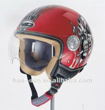 motorcycle open face helmet red color with personalized graphic new design helmet