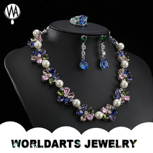 Fashion Jewelry custom wedding set pearl necklace designs , latest design beads necklace , statement necklace set