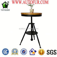 Cafe furniture pine wood table top metalcoffee table