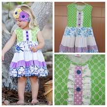 CONICE NINI brand giggle moon summer baby headhand and boutique outfit clover little girls dresses wholesale