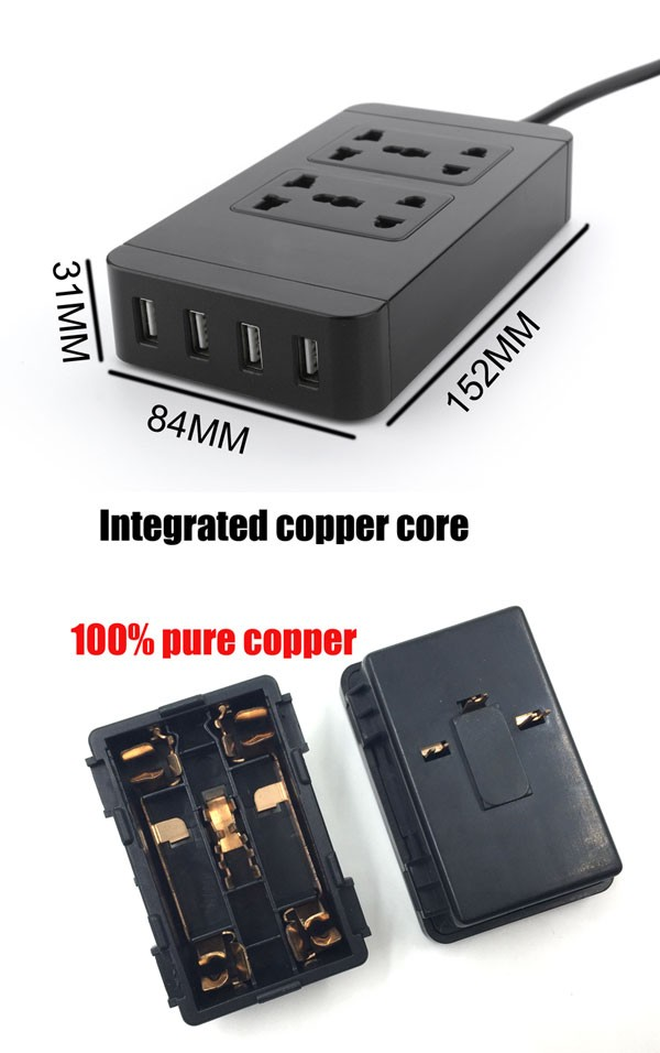 Pass Ce ROHS 100% pure copper Universal 4 gang power extension socket with usb