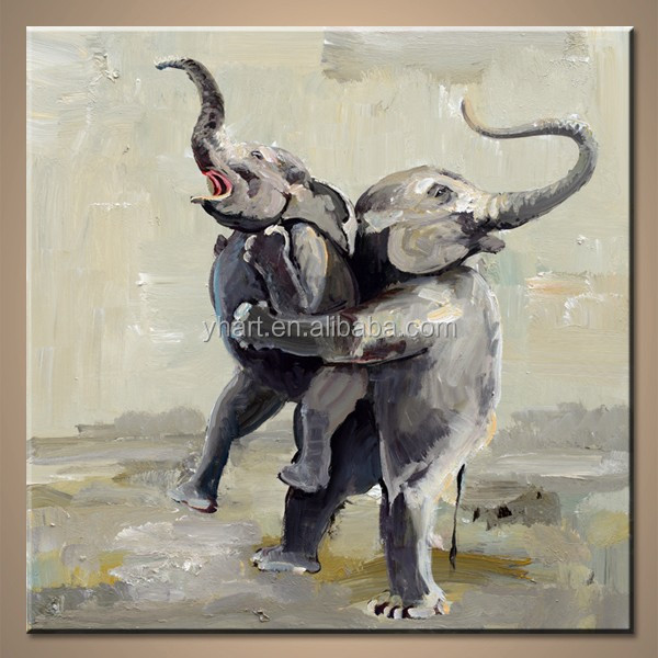 Wall Decor Canvas handmade animated elephant pictures Painting