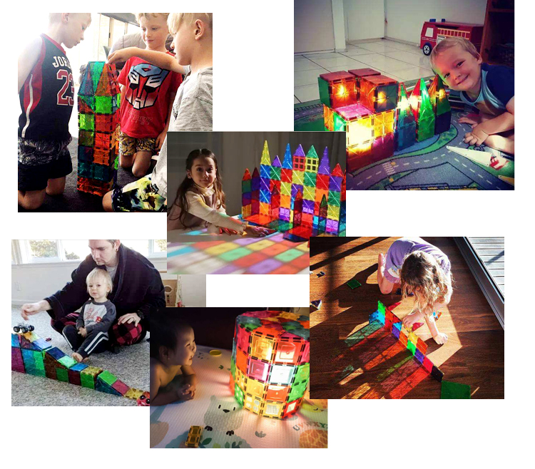 Playmags new magnetic building tile blocks ABS Plastic Type and Plastic Material magna tiles10pcs