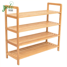 Closets and Entryway Free Standing 4 Tier Bamboo Shoe Rack , boot Seat