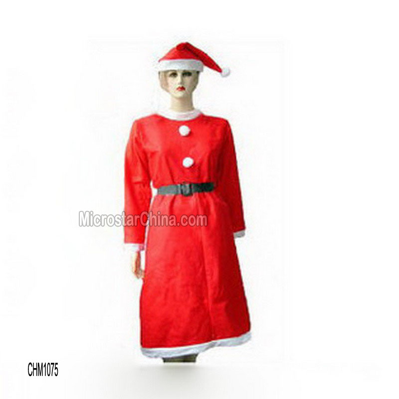 Christmas party promotional santa claus costume dresses for women