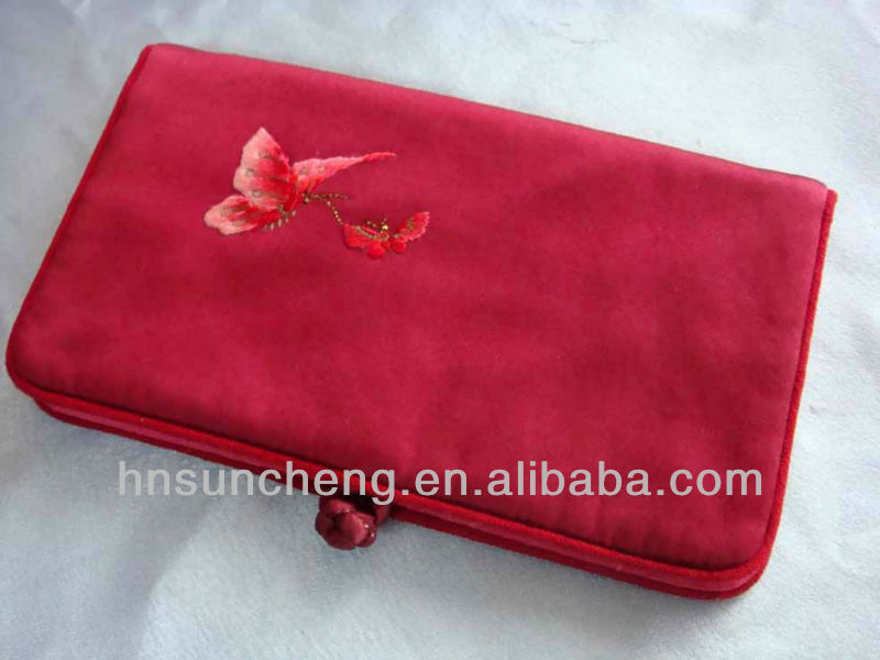 Red Wallet Butterfly-100% handmade silk embroidery