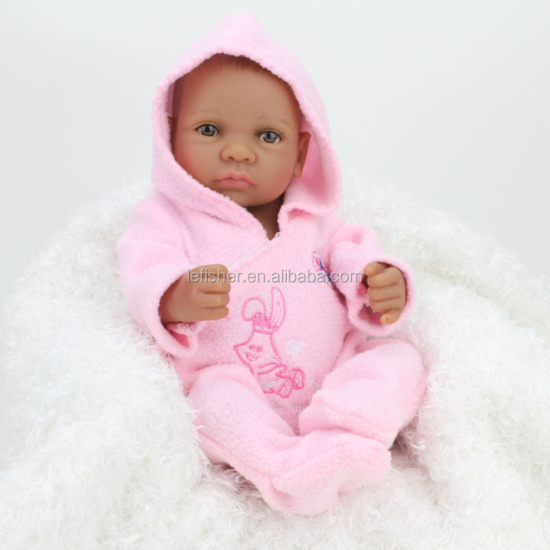 10 inches African Black Girl Baby Doll Full Silicone Body Reborn Babies Ethnic Alive Dolls,Christmas Gift Item