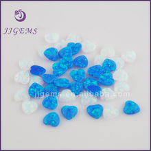 new product heart shape synthetic white opal stone