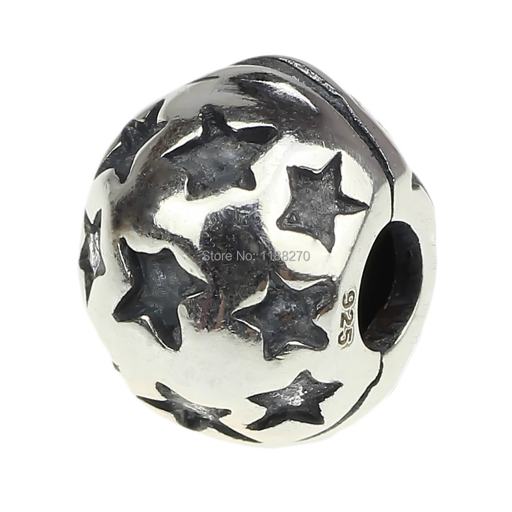 925 Sterling Silver Charm Starry Round Clip Stopper/spacer .Bead Charm for European Charm Bracelet Chain DIY