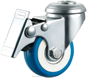 Factory price medium duty blue polyurethane plastic 50 mm bolt hole with brake ball bearing small trolley wheels