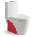 Fashion design red colored ceramic color glazed swashdown one piece toilet water closet