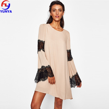 2018 new products innovative product nude casual eyelash lace chiffon long sleeve plus size women dress