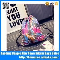 2015 new products cotton print women flower drawstring bag canvas string backpack