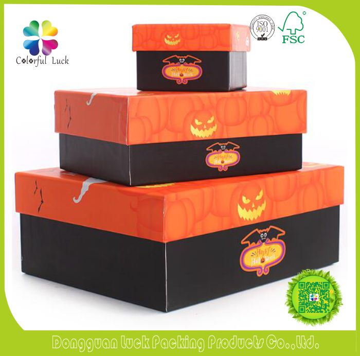 Various Sizes Fancy Printing Halloween Gift Packaging Handmade Paper Boxes