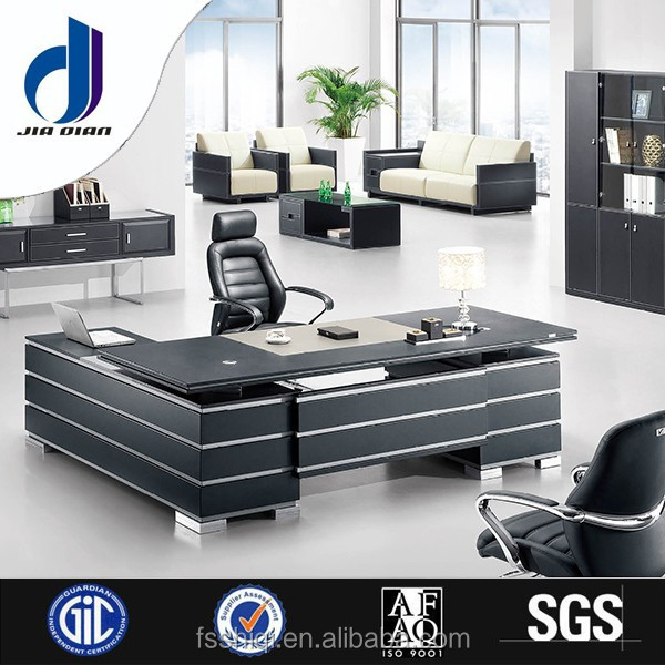 F-05 Simple style 2015 best high gloss black wooden steel frame mdf t-shape executive office desk