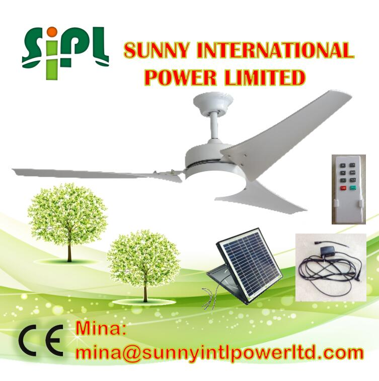Vent kits solar panel electricity high efficiency Axial Flow ceiling Fan with led light ceiling fan Cooler ceiling Fan