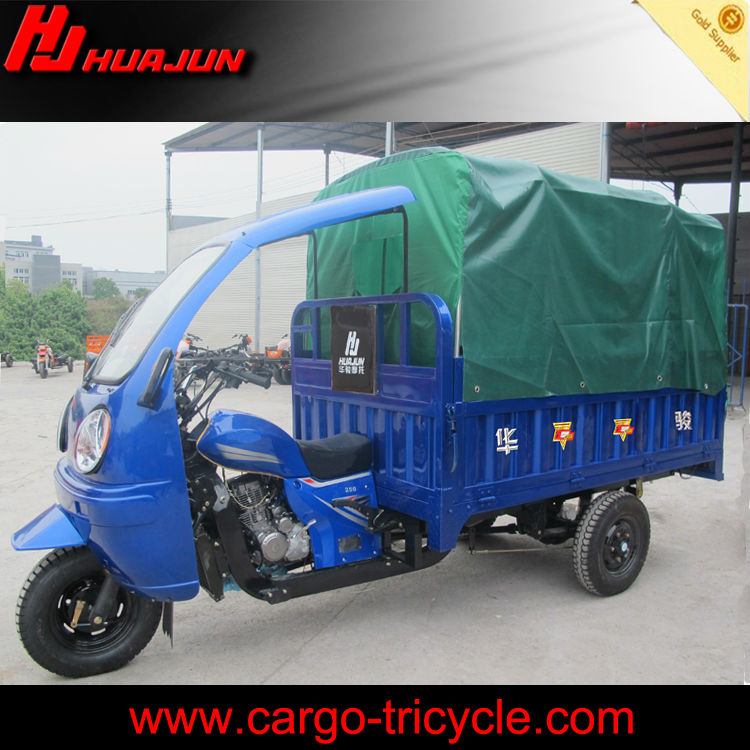 cargo tricycle with tent and roof three wheel covered motorcycle for sale