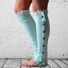 Wholesale knee high socks 100% cotton lace cuff knit leg warmers