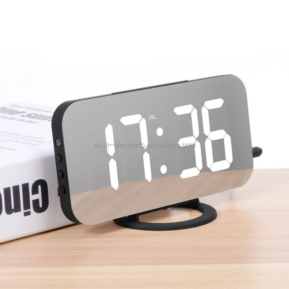 2018 Patent LED Digital Desktop Alarm Clock With Wake Up USB Charger For Home Decor