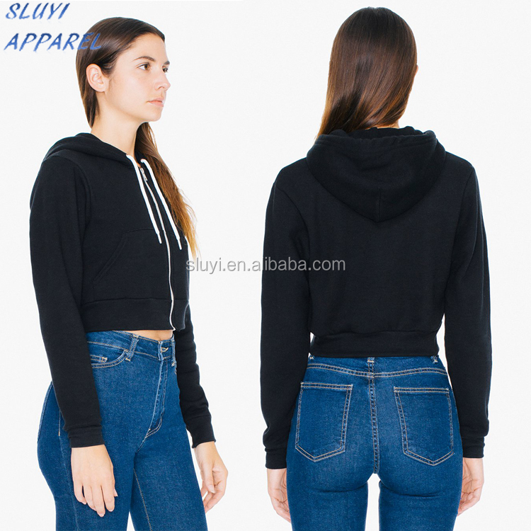 OEM Service Custom Wholesales Black Fleece Sweater custom embroidered sweaters Cropped Flex zip Fleece shirts