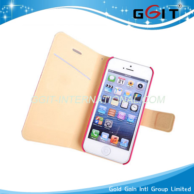 Genuine Wallet Leather Case for iPhone 5C Rotating Cover with Card Room