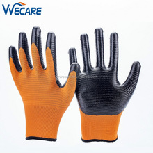 13G U3 Style Yellow Polyester Shell Black Nitrile Open Back Oil Resistant Work Gloves