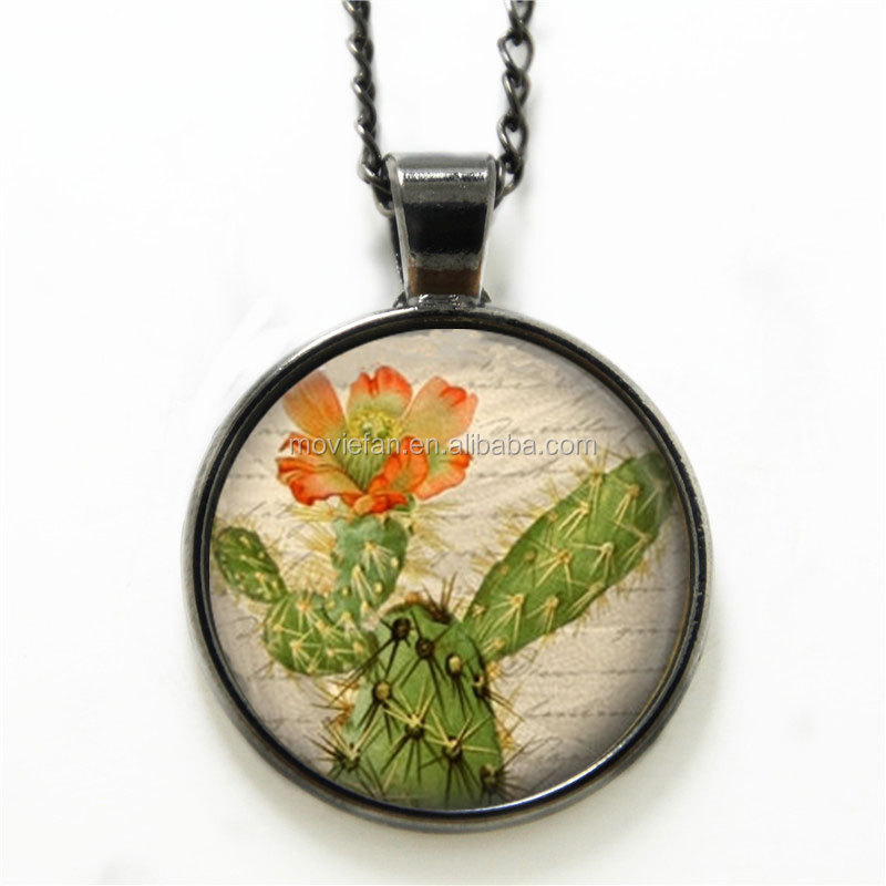 Cactus necklace Cactus Flower Prickly Pear Desert Southwest Art necklace Flower print glass necklace