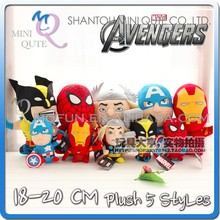 Mini Qute 18-20cm 5 style marvel avenger captain america Thor superman dolls plush toys NO.MQ 053