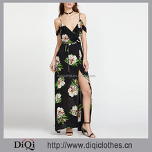 New design hot sale clothes manufacturer fashion sexy lady black Botanical Print Ruffle Drape Cold Shoulder Wrap Dress