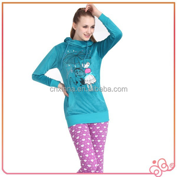 High quality winter sport ladies apparel velour tops