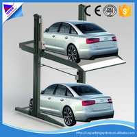 2 level parking lift used home garage two post car parking system