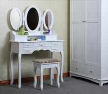 Yasen Modern Wooden Dressing Table Design With Three Full-length Mirrors and one Stool