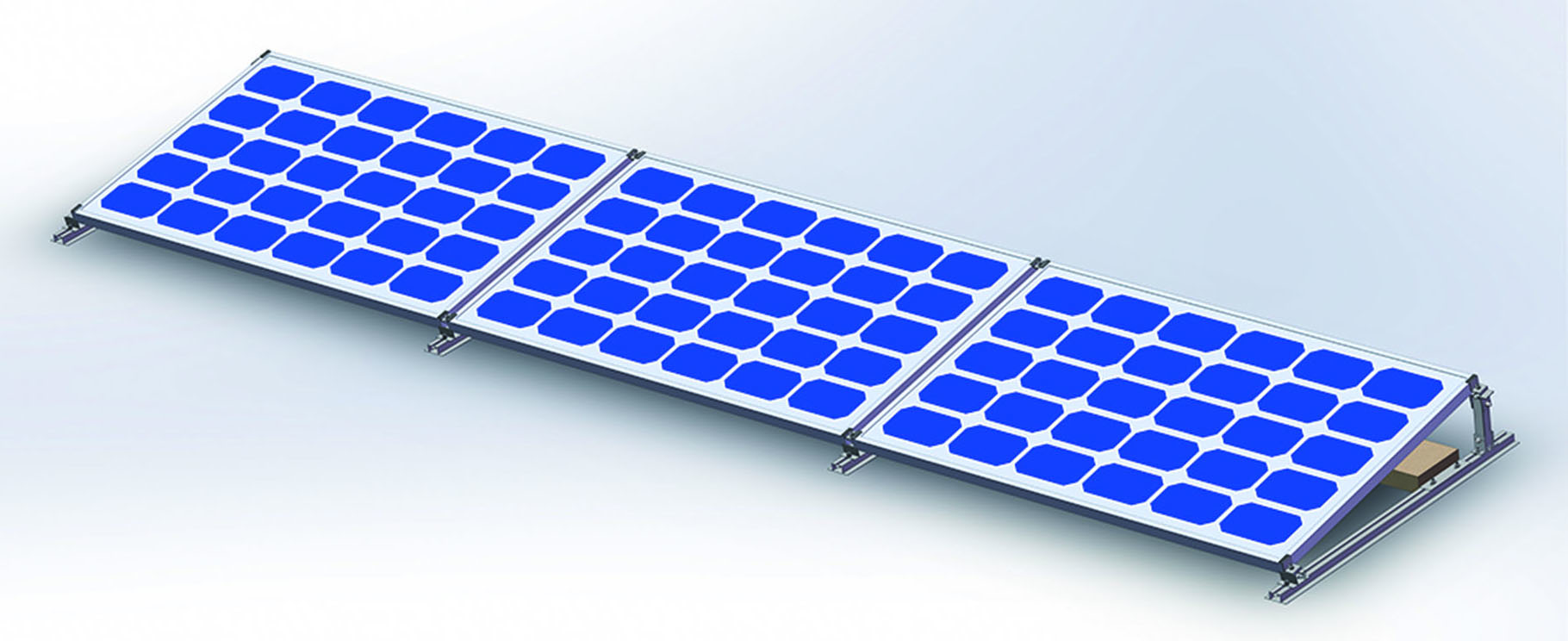 Easy installation flat roof solar panel ballasted mounting system without damaging the flat roof