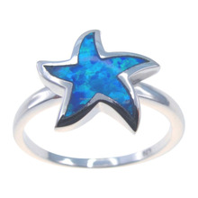 Sealife Sea Star Inlay Fire Blue Opal Ring Silver 925 Smooth Women Hawaiian Ring DR032819R