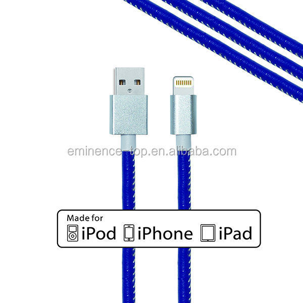 Universal Fast Charging Leather MFI Usb Cable for phone