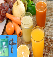 Portable hand crank vegetable and fruit juicer/wheat grass juicer with wooden handle