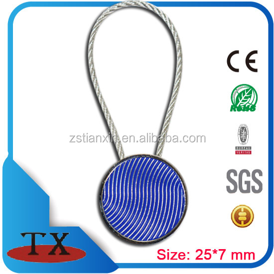 Round tag customized stainless steel cable wire loop metal keychain
