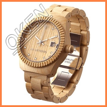 2016 CE approval vogue stainless steel Japan movement wood watch