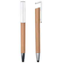 New Design Engraving Logo Gift Promotional Retractable <strong>Bamboo</strong> Stylus Ball <strong>Pen</strong> with Phone <strong>Holder</strong>