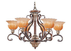 bronze colour pendant light with scagliola flower shape lamp shade good for hall lighting