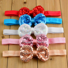 21 Colors Fancy Baby Headband Hair Bows For Girls Boutique Striped Sequin Headbands